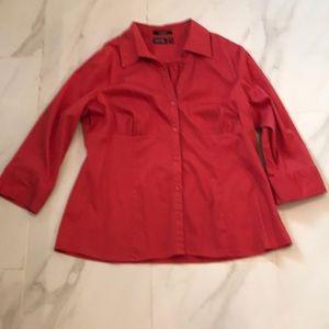 Cotton fitted shirt, orange color, size XL